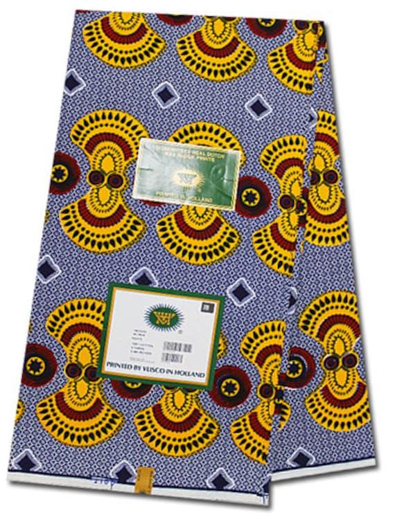 6 Yards Vlisco Block Wax Hollandais Print by AfricanFabricsStore