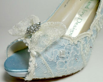 Marie Antoinette Lace Bow Bridal Shoes, French Blue Lace Shoes,Bridal Bow Front Wedding Shoes,Lace Heels, Princess Heels