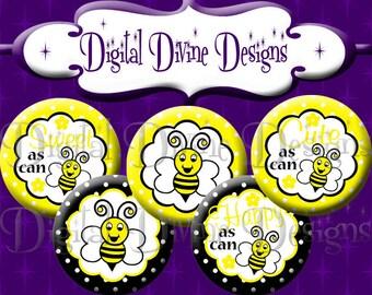Sweet Honey Bee - 1 inch round digital graphics - Instant Download