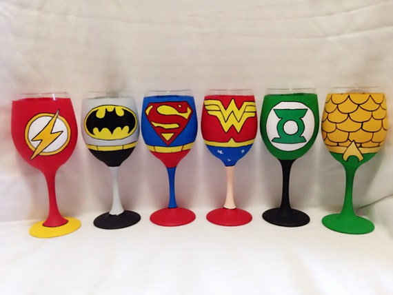 Super hero set of 6 inspired hand painted wine glass for Super u champagne