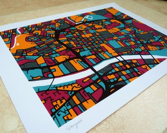 Glasgow  Art Map - Limited Edition Contemporary Giclée Print