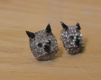 Vintage Rhinestone Cat Face Earrings for Pierced Ears
