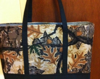 Camo and Black  Lined Tote