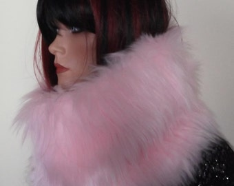 Pink Snood / Circle Scarf in 65mm Luxury Soft Faux Fur