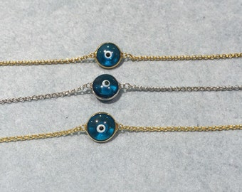 Evil eye bracelet or anklet in gold or silver