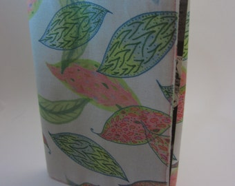 Pink and Green Leaves Adjustable Fabric Manga Book Cover