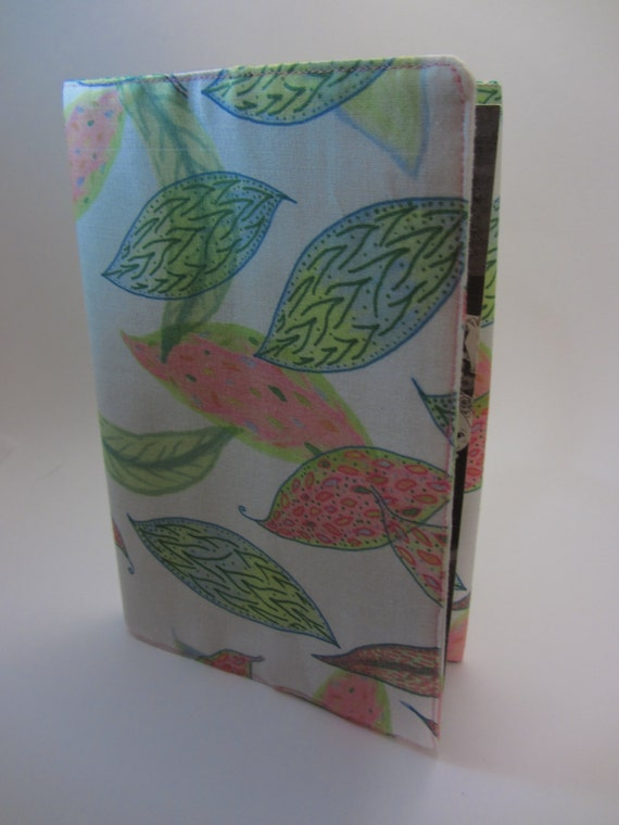 Make Adjustable Fabric Book Cover ~ Pink and green leaves adjustable fabric manga book cover
