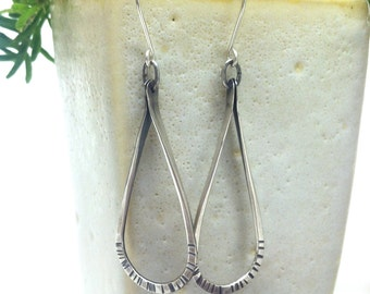 Droplet Earrings >>> Sterling Silver Hoop Earrings, Organic Hammered Look, Hand-Forged.