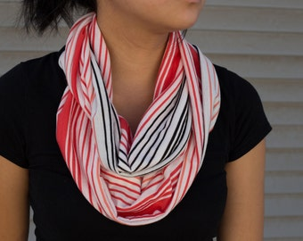 Coral, peach, white, and black thin striped infinity scarf (cowl)