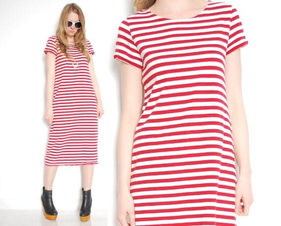 90s dress striped dress midi dress nautical dress red