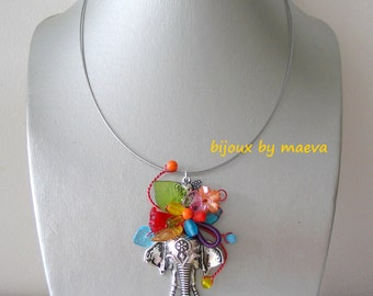 Jewelry designer fancy multicolour elephant pendant necklace