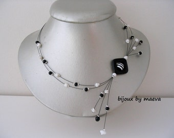 Black and white handmade jewelry necklace black and white beads striped satellite