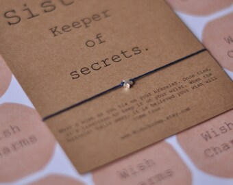 Sterling Silver Star- Friendship Bracelet- Wish Bracelet- Sister Bracelet- Sister Gift- Cord Bracelet- Colour Choice