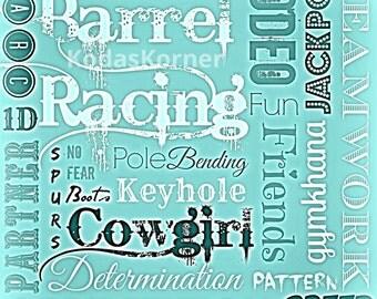 Barrel Racing Word Art Turquoise