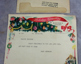 1950 WESTERN UNION Holiday Greeting Telegram & Printed Envelope - Great graphics - Christmas Xmas