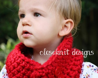 Crochet Red Toddler Cowl Infinity Scarf with Buttons