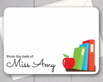 Teacher Note Cards - 12pk, Personalized Flat Note Cards, Language Arts Teacher Gifts, Printed with Envelopes (NC2)