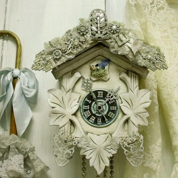 Wall Decor With Rhinestone : Vintage cuckoo clock rhinestones bird wall decor swell