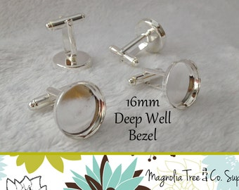 Silver Cufflinks, 16mm DIY cuff links, Bezel Blank, bezel settings, recessed cufflinks, DEEP Well Bezel, makes 5 pairs (WS10-SP5)