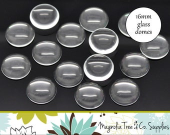16mm round glass domes, 10 or 20 pcs, glass domes, round clear glass, glass cabochon, glass tiles (GD16A, GD16B)