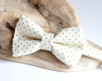 Ivory Bow Tie. Gold Groom Bow Tie. Polka Dots Bow Tie. Pre Tied Men's Bow Tie. Wedding Bow Tie