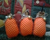 Three small cute primitive orange pumpkin Thanksgiving Day or Halloween/fall tree ornaments, pintucks, bowl filler