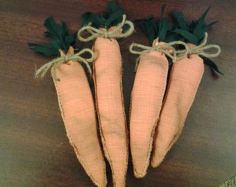 Set of 4 orange coffee stained primitive carrots bowl fillers, ornaments, pin tucks or shelf sitter