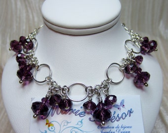 Swarovski crystal dangle bracelet on a chain