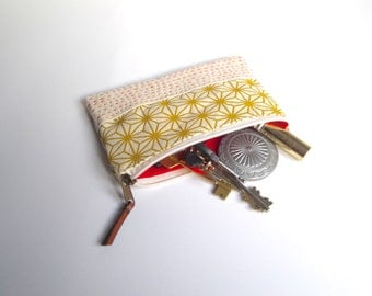 cosmetic pouch, small zipper pouch, japanese purse, yellow print case, sashiko, scrennprint pouch