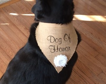 Burlap Dog of Honor Wedding Bandana