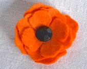 Small Burnt Orange Poppy Boutonniere or Pin and Clutch Button Hole Lapel Flower  - Felt Flower with Button Back - Gift Boxed