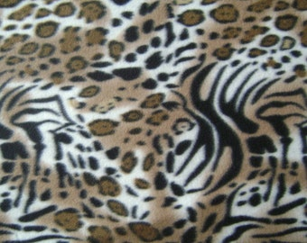 Wild Animal Skin Fleece Fabric by the half yard