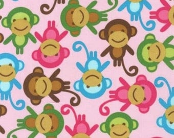 Urban Zoologie Spring Monkeys - Robert Kaufman - Cotton fabric - Choose your cut