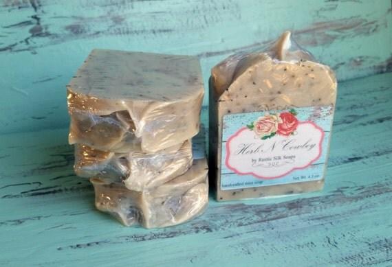 Herbal Soap Bar, Rosemary Mint Soap, Eucalyptus Spearmint Soap, Handmade Soap Bar, Scrub Soap, Masculine Soap for Men - Herb N Cowboy
