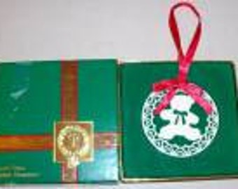 Vintage Lenox China Christmas Yuletide Ornament Collection Teddy Bear Ornament now Retired