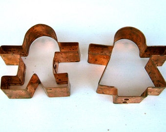 """2 Vintage Heavy Duty - Copper GIRL & BOY Cookie Cutters - Pair of Sturdy Copper Cookie Cutters - Approx. 4"""" high"""