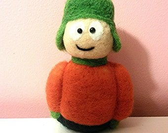 needle felted, South park character, Kyle south park, cartoon needle felted, needle felted character, kyle felted,South park cartoon.