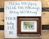 Grandma Grandpa Grandparent Mimi Papa Gift Picture Frame I'll Love You Forever I'll like You for Always Parents Thank You Wedding Gift 16x16