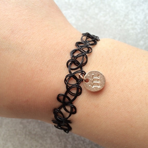 items similar to vintage tattoo henna black stretchy bracelet with rose gold initial charm a b. Black Bedroom Furniture Sets. Home Design Ideas