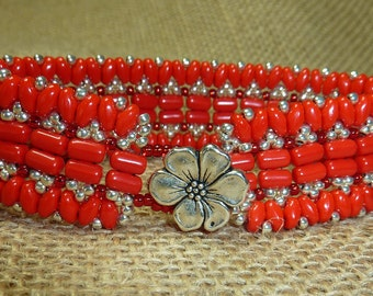 Carmen - red and silver bead woven bracelet