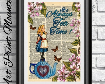 Original art print on antique dictionary book page Mounted. Wall decor Alice in Wonderland Tea time. Mixed media print blue and pink flowers