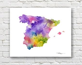 Spain Map - Abstract Watercolor Art Print - Wall Decor