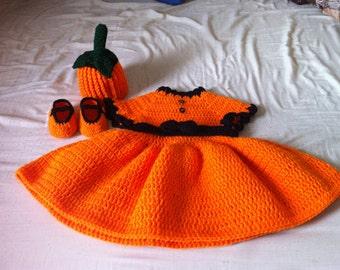crochet Pumpkin Dress set