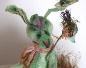 Pattern  Teddy rabbit green-27 cm.- 10.62 inchs/ Artist Pattern-stuffed animals-stuffed bear-artist teddy bear- pattern teddy bears