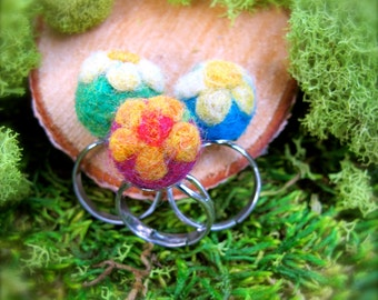 Needle Felted Flower Ring  adjustable, silver plated