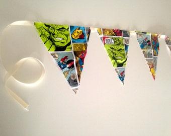 comic superhero fabric banner