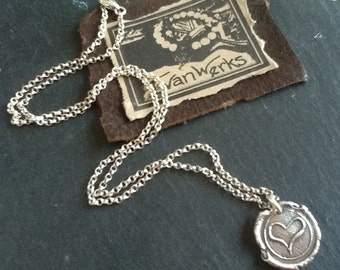 Heart Wax Seal Necklace Oxidized Sterling Silver Chain Necklace Women's necklace