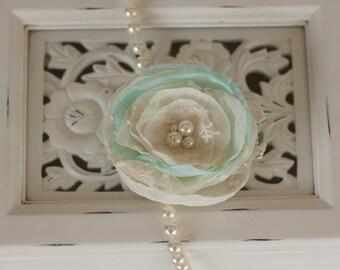 Bridal Flower hair clip, brooch or sash pin, blush satin chiffon and lace flower