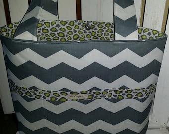 Chevron, Gray and White Zig Zag Diaper Bag!