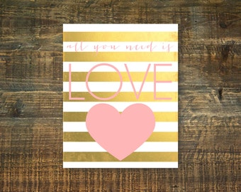 All You Need Is Love Pink Printable Art